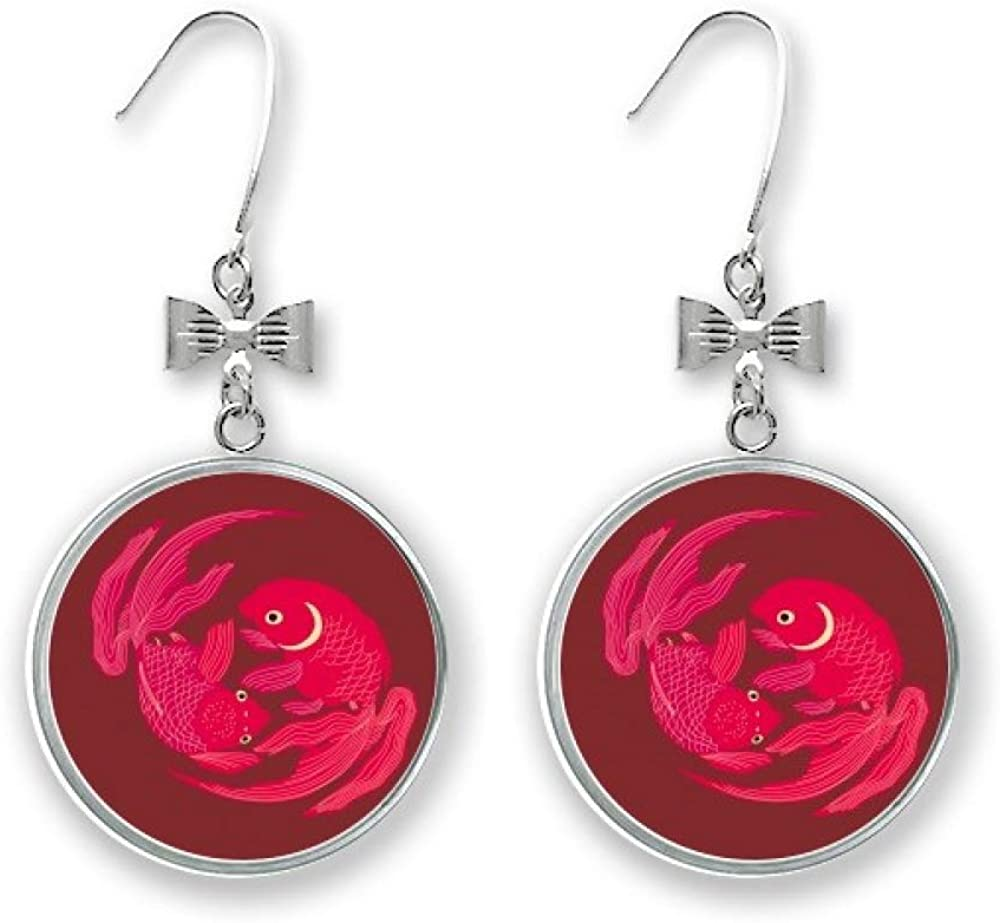 Painting Japanese Culture Red Fish Stud Drop Pierce 70% OFF Outlet Bow Sale item Earrings