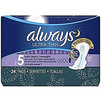 Always Ultra Thin Pads Extra Heavy Overnight w/Flexi-Wings Unscented 24 ea  Packaging may Vary