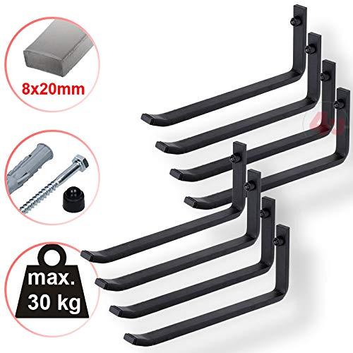 4U® 8 x Wand-Reifenhalter, 25,5cm, 30kg (8x20mm), Reifenhalter Wandhalterung Felgenhalter Wandhalter Reifenständer Felgenregal Reifenhalterung Reifenwandhalter