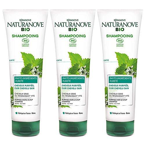 Kéranove Naturanove Bio – Champú pureza certificada orgánica para cabello y cuero cabelludo – 250 ml – Lote de 3