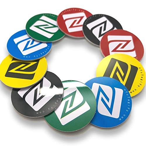 10 x NFC-tags | NXP chip NTAG215 | 504 Bytes geheugen | ronde stickers, gemengde kleuren| Hard PVC en sterke 3M lijm | Hoge scansterkte | Dezelfde chip met Tagmo Amiibo