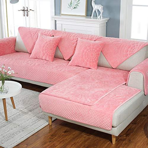 YUTJK Funda De Sofa Antideslizante Durable, Lavable Toalla De Sofá, Fundas De Sofa Sala Estar Apto para Niños Mascota Gato, Cojín de Felpa cálido para sofá, para sofá de Tela, Rosado