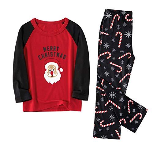 3-9 Years Kids Christmas Pajamas Unisex Boys Girls Family Pajamas Matching Sleepwear Tops Blouse Pants Set Xmas Clothes Red