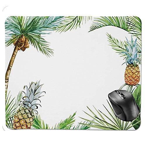 Mauspad, Aquarell, Tropische Insel-Stil, Bordüre, exotische Früchte Palmen und Blätter