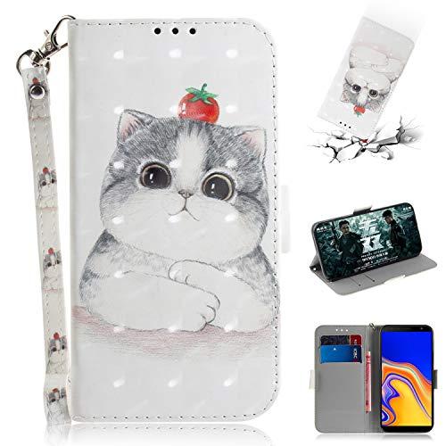 WIWJ Schutzhülle Kompatibel mit Samsung Galaxy J4 Plus Handyhülle Lederhülle Flip Wallet Cover[3D Halter Holster] Handyhüllen für Samsung Galaxy J4 Plus Hülle-Süße Katze