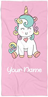 afe10fef5dc2c Extra Large Personalized Unicorn Towel for Kids - Oversized Thick Cotton  Custom Travel Beach Pool and
