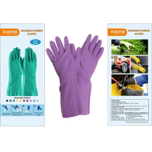 OCTUS Reusable Rubber Gloves | Stretchable Gloves For Multipurpose Action (Assorted Color, 2 Pairs)