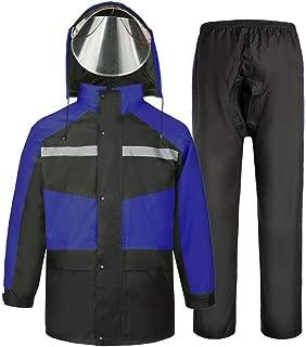 NYDZDM Raincoat Suit, Adult Outdoor Jacket/Trouser Set Rainwear Travel Motorcycle Riding Waterproof Rain Coat/Pants Suit with Hood (Color : Blue, Size : XXXL)