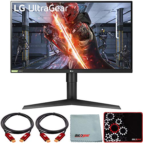 LG 27' Ultragear QHD Nano IPS 1ms NVIDIA G-SYNC Compatible Gaming Monitor Bundle with Deco Gear HDMI Cable 2 Pack + Gamer Surface Mousepad + Screen Cloth