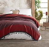 Belle Living Nefes Tagesdecke Überwurf Decke - Wohndecke hochwertig - perfekt für Bett & Sofa, 100prozent Baumwolle - handgefertigte Fransen, 200x250cm (Rot)