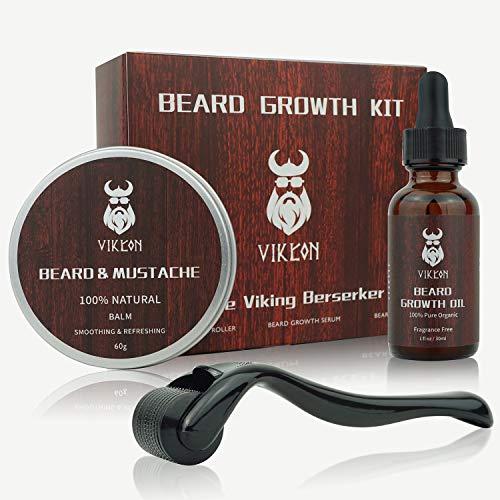 Beard Growth Kit, VIKICON Bartpflege Set, Bartwachstum Kit für Männer, Bart Derma Roller Bartwachstum Serum Öl Bart Balsam