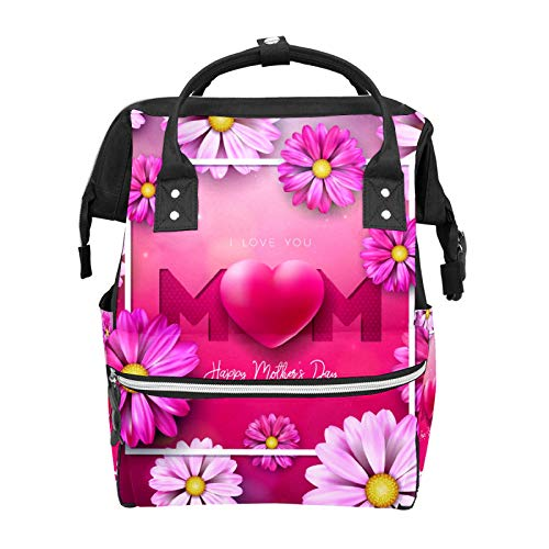 Bolsa de pañales Mochila Feliz Día de la Madre Flor Roja Multifunción Viaje Mochila Bebé Cambiador Bolsas de Gran Capacidad Impermeable Elegante