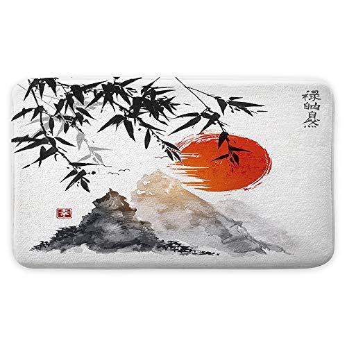 NYMB Alfombra de baño japonesa de árboles de bambú para el sol y las montañas, antideslizante, para entrada al aire libre, interior y exterior, alfombra de baño de montaña Fuji asiática, 40,7 x 70,9 cm