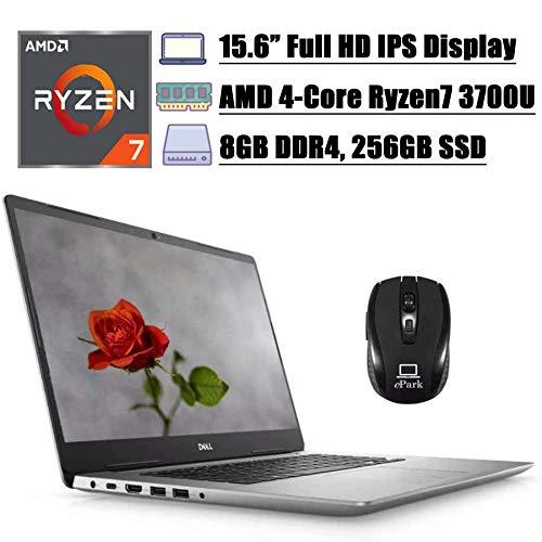 2020 Newest Dell Inspiron 15 5585 5000 Business Laptop, 15.6'FHD IPS, AMD Quad-Core Ryzen7 3700U( i7-7500U), 8GB DDR4 256GB SSD, AMD Radeon RX Vega 10 Backlit KB FP Win 10 + ePark Wireless Mouse