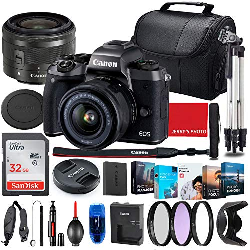 Canon EOS M5 Mirrorless Camera with 15-45mm STM Lens (Black) Bundle + Premium Accessory Bundle Including 32GB Memory, Filters, Photo/Video Software Package, Shoulder Bag & More
