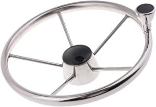 Perfk 5-Spoke Marine Steering Wheel 3/4 inch Shaft with Knob for Boat - 13 1/2 inch 340mm Dia