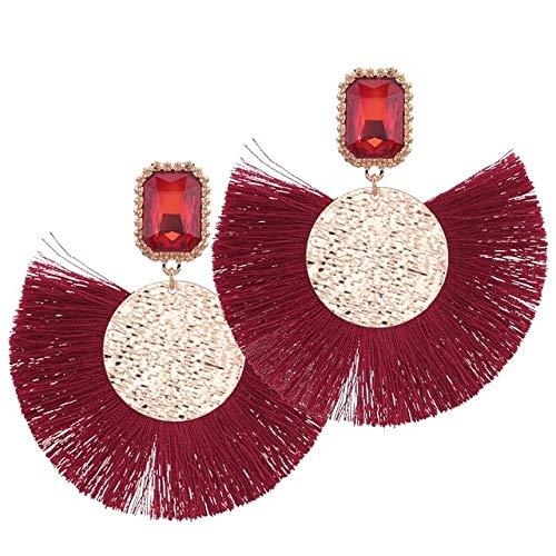 DJMJHG Pendientes de Borla para Mujer, Pendientes Grandes con Flecos, joyería Bohemia para Boda, Pendientes, Rojo Antiguo