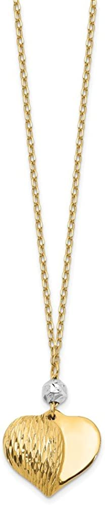 14k Two Tone Yellow Gold Heart 18 Inch Chain Necklace Pendant Charm Love Fine Jewelry For Women Gifts For Her