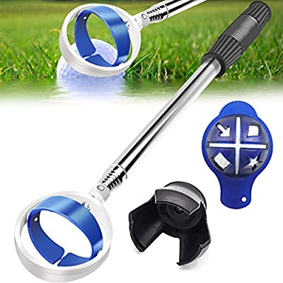 Golf Ball Retriever, Extendable Golf Ball Retriever for Water [Longest 106''] w/Golf Ball Pick Up Retriever Grabber Claw Sucker Tool, Golf Gift for Men Dad Husband, Length: 8.8 Ft / 2.6 m