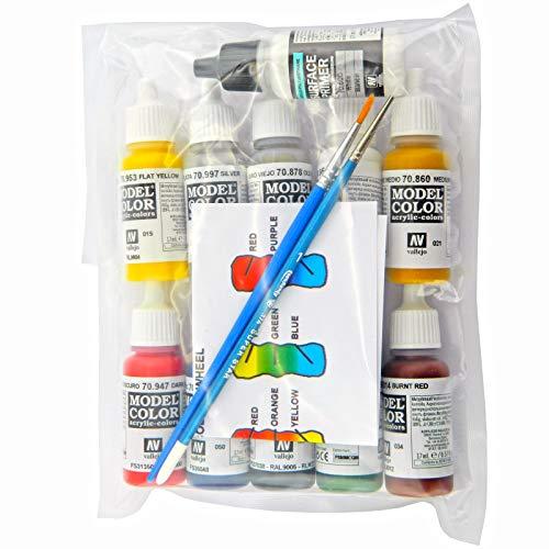 10 pinturas acrílicas de color modelo Vallejo y imprimación blanca y 2 pinceles PSK-M.