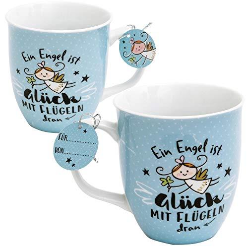 Happy Life 46145 Tasse mit Engelsmotiv, Ein Engel ist Glück mit Flügeln, Hellblau
