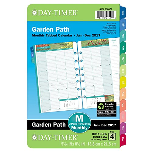 """Day-Timer Monthly Planner Refill 2017, Two Page Per Month, Loose Leaf, 5-1/2 x 8-1/2"""", Desk Size, Garden Path (13486)"""