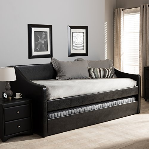 Baxton Studio Barnstorm Faux Leather Daybed with Trundle in Black