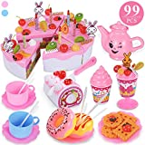 TEMI 99pcs Pretend Play Birthday Cake for Kids, Decorating Party Toy Food and Tea Sets with Removable...