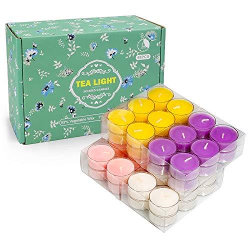 YMing Tealight, velas de cera, velas perfumadas, paquete de 48, higos mediterráneos, limón, primavera, lavanda, embalaje, juego de regalo para mujeres, pequeñas velas votivas para el hogar