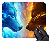 Mouse Pad, Ice and Fire Wolf Head Standard Size Rectangle Non-Slip Rubber Mousepad - 9.8(L)x 11.8(W) inch