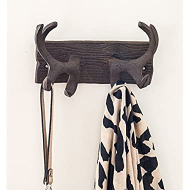 Comfify Vintage Cast Iron Deer Antlers Wall Hooks by Antique Finish Metal Clothes Hanger Rack w/Hooks   Includes Screws and Anchors   in Rust Brown   (Antlers Hook CA-1507-24)
