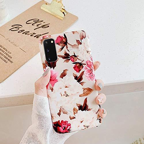 Uposao Kompatibel mit Samsung Galaxy S20 Hülle Silikon Ultra Dünn Handyhülle 3D Blumen Blätter Bunt Muster Weich TPU Schutzhülle Etui Kratzfest TPU Bumper Handytasche Case Cover,Rose Blumen