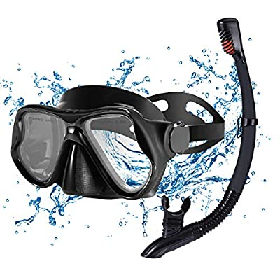 KUSTAR Snorkel Set Adults,Dry Snorkeling Set Men Women Anti-Fog Snorkel Mask Impact Resistant Panoramic Tempered Glass Easy Breathing and Professional Snorkeling Gear for Youth Adults