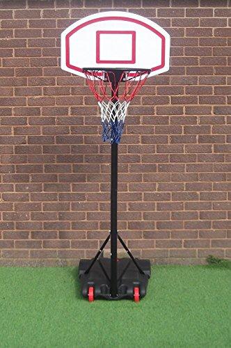 Mobiler Basketballkorb mit Rollen | verstellbare Korbhöhe 165 - 205 cm - Backboard 71 x 45 cm