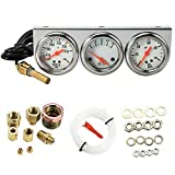 MASO 2'' Inch 52mm Oil Temp Oil Pressure Volts Triple Gauge 3in1 Kit White