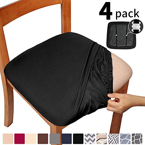 Gute Chair Seat Covers, Dining Room Chair Seat Covers with Ties, Stretch Solid Chair Covers Protectors for Dining Room Kitchen Chairs (Set of 4, Black)