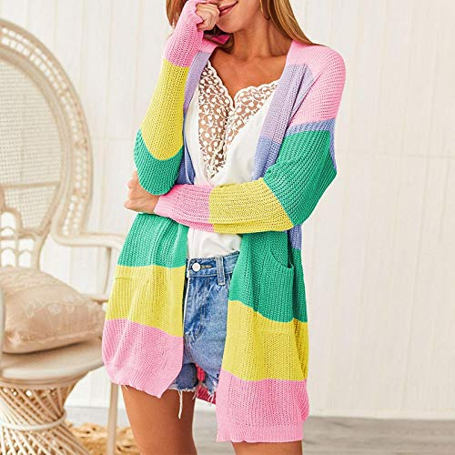 SYXMSM Abrigo de punto para mujer con costuras sueltas en contraste de color para mujer, chaqueta de punto de manga larga, blusa suelta informal (color: rosa, talla: XXXL)