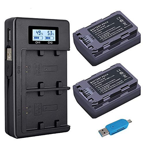 Palo NP-FZ100 (2-Pack 2280mAh) y Cargador Doble USB Inteligente LCD para Sony NP-FZ100 y Sony Alpha 9, A9, Alpha 9R, A9R, Alpha 9S, A9S, A7RIII, A7R3, A7 III Cámara Digital