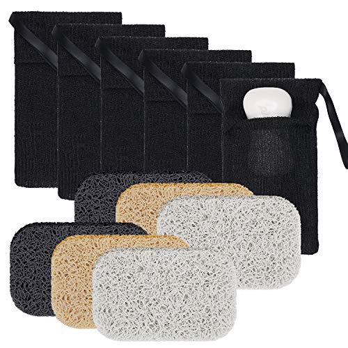 12 Pieces Exfoliating Soap Pockets Soap Saver Set, Includes 6 Pieces Soap Pocket Soap Holder Bags Body Scrubber Soap Pockets, 6 Pieces Soap Saver Soap Dish Soap Holder Accessory