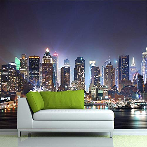 Fototapete 3D Modernes New- York Cityarchitektur-Nachtszenen-Foto-Wandvlies-Inneneinrichtungs-Hintergrund-Tapeten Wandbild -350cmx245cm