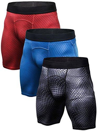 SANANG - Mallas de compresión para hombre, 3 unidades Points Noirs + Rouge + Bleu XXL