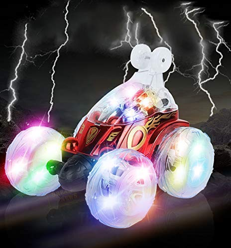 Vivibel Ferngesteuertes Auto, Wiederaufladbar RC Auto mit Fernbedienung, Dual Modi 360° Drehbarer Stunt Rennwagen LED-Lichter, USB-Kabel, Kontrollierte Schaltermusik ,Geschenk für Jungen Mädchen