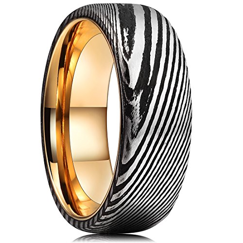 King Will Warriors 8mm Mens Damascus Steel Wedding Ring Gold Plated Innerface Comfort Fit 9.5