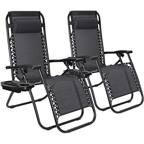 JUMMICO Zero Gravity Chair Patio Outdoor Adjustable Reclining Folding Chair Lawn Lounge Chair for Deck Beach Yard and Beach with Pillows Set of 2 (Black)
