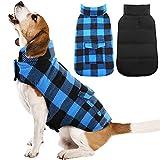 Kuoser British Style Plaid Dog Winter Coat, Windproof Cozy Cold Weather Dog Coat Dog Apparel Dog Jacket Dog Vest for Small Medium and Large Dogs with Pocket & Leash Hook Blue M