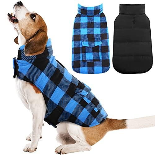 Kuoser British Style Plaid Dog Winter Coat, Windproof Cozy Cold Weather Dog Coat Dog Apparel Dog Jacket Dog Vest for Small Medium and Large Dogs with Pocket & Leash Hook Blue S