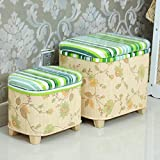 FSYGZJ Bamboo Woven Storage Ottoman,Cube Ottoman Footstool with Removable Lid Storage Box Footstool Coffee Table C Double