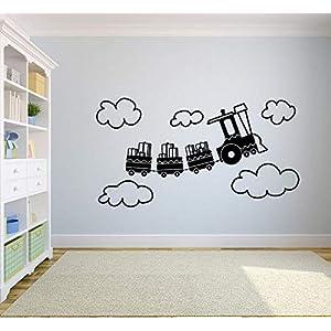 Cute Train Cartoon Trains Rail Toy Railroad Railway Wall Sticker Art Decal for Girls Boys Kids Room Design Bedroom Nursery Kindergarten Garage House Fun Home Decor Stickers Wall Art Vinyl Decoration