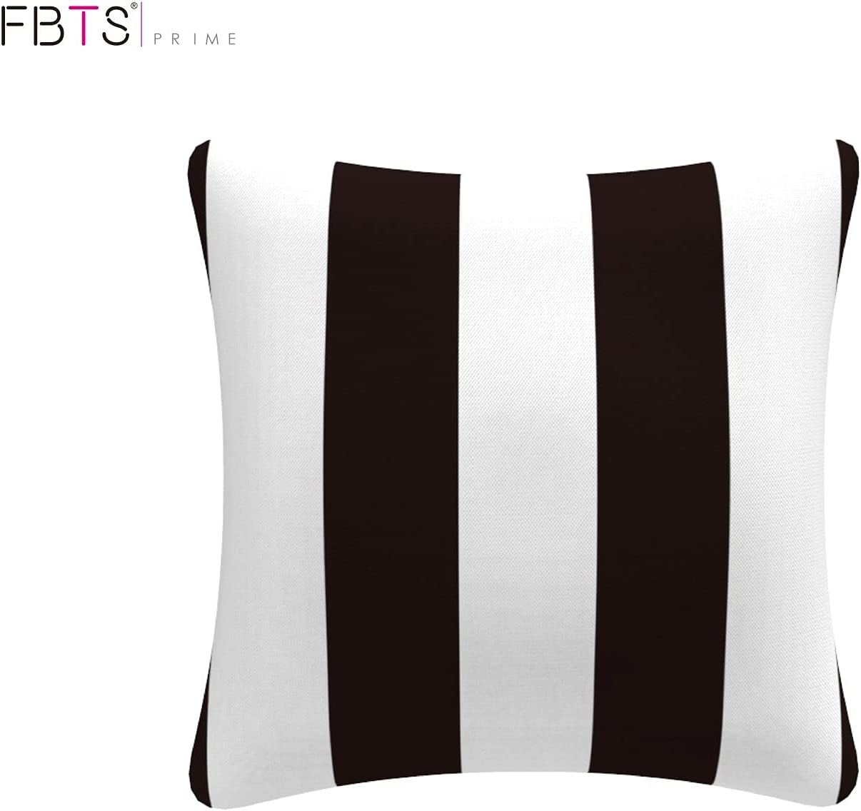 FBTS Prime Outdoor Decorative Pillows with Insert Black and White Stripe  Patio Accent Throw Pillows 20x20 Inch Square Toss Pillows for Couch Bed  Sofa ...
