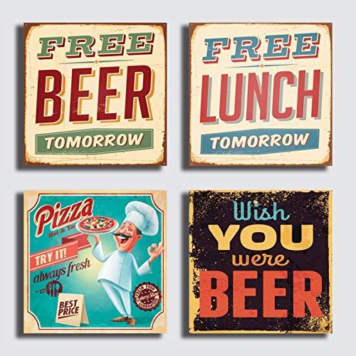Modern schilderij, 4 stuks, 30 x 30 cm, druk op canvas, moderne afbeelding, vintage meubel, bar, winkel, pizzeria restaurant, café, pizza, pub bier.